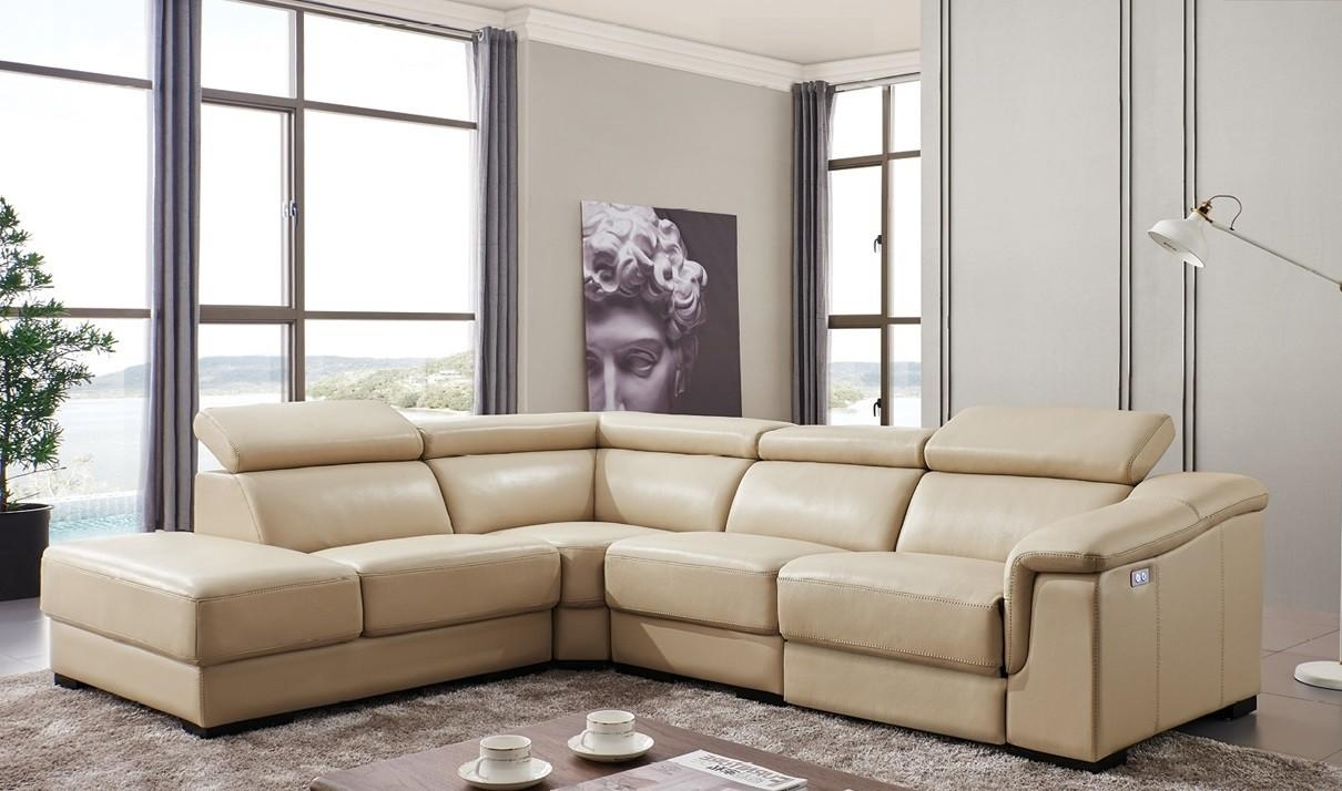 760 Leather Sectional Sofa W/electric Recliner In Beige | Free Intended For Sectional Sofas With Electric Recliners (Image 1 of 22)