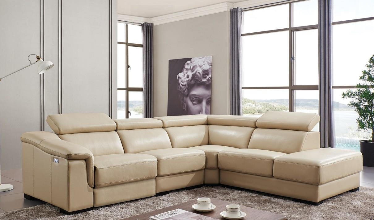 760 Leather Sectional Sofa W/electric Recliner In Beige | Free With Sectional Sofas With Electric Recliners (Image 2 of 22)