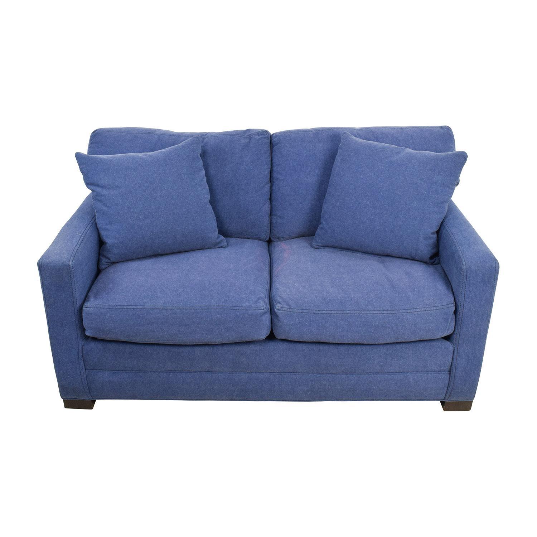 79% Off - Lee Industries Lee Industries Denim Blue Loveseat / Sofas in Denim Loveseats