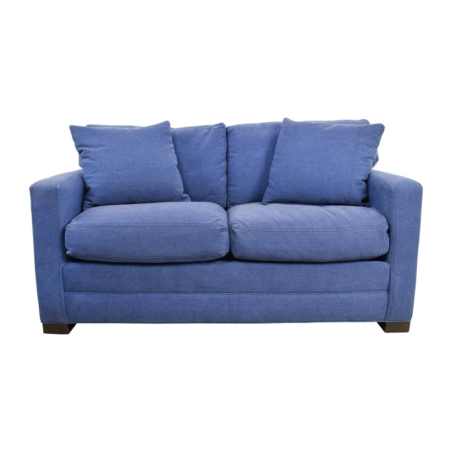 79% Off - Lee Industries Lee Industries Denim Blue Loveseat / Sofas pertaining to Denim Loveseats