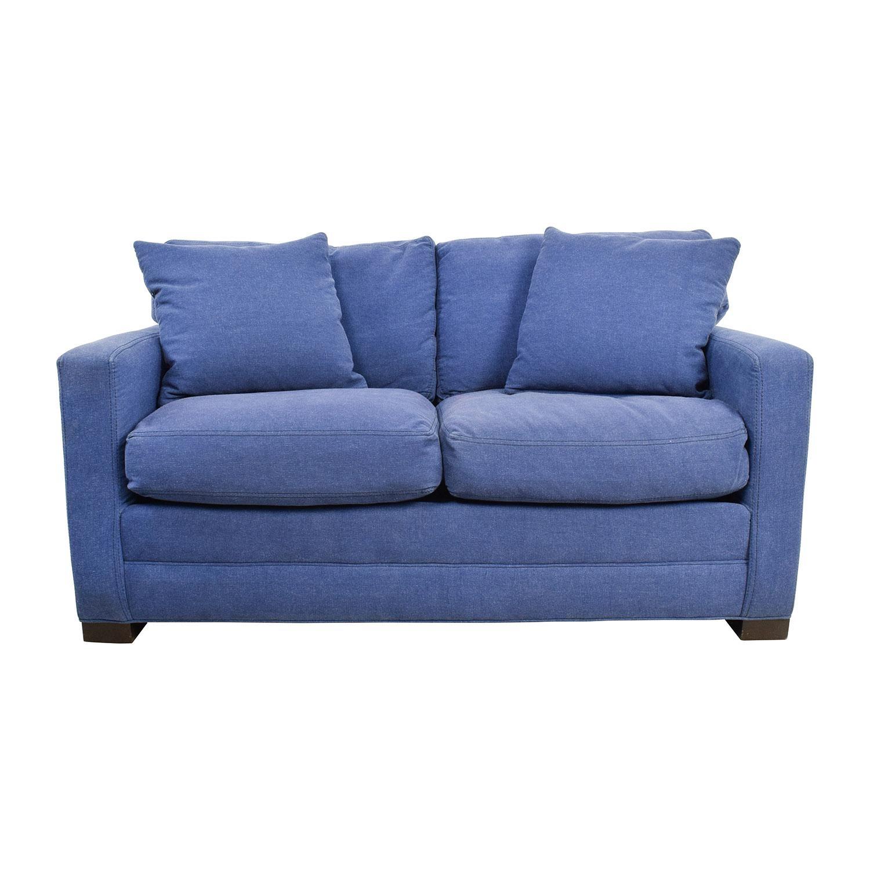 79% Off - Lee Industries Lee Industries Denim Blue Loveseat / Sofas pertaining to Denim Loveseats