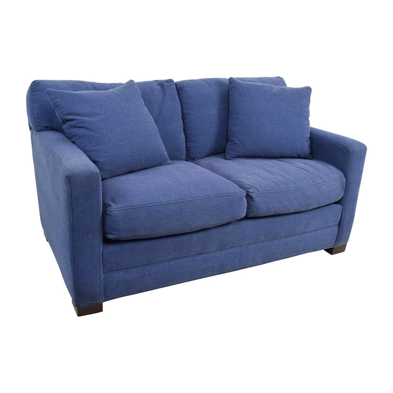79% Off - Lee Industries Lee Industries Denim Blue Loveseat / Sofas throughout Denim Loveseats
