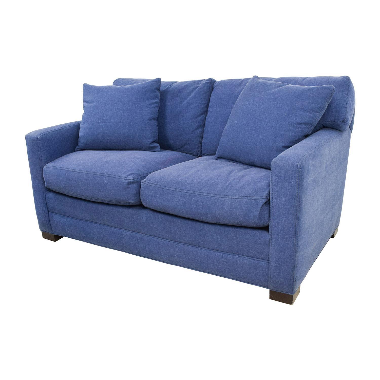 79% Off – Lee Industries Lee Industries Denim Blue Loveseat / Sofas With Regard To Denim Loveseats (Image 4 of 20)