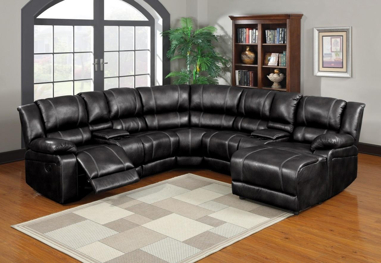80484 Bonded Leather Reclining Sectional With Cup Holder & Storage Intended For Sectional With Cup Holders (Photo 1 of 20)