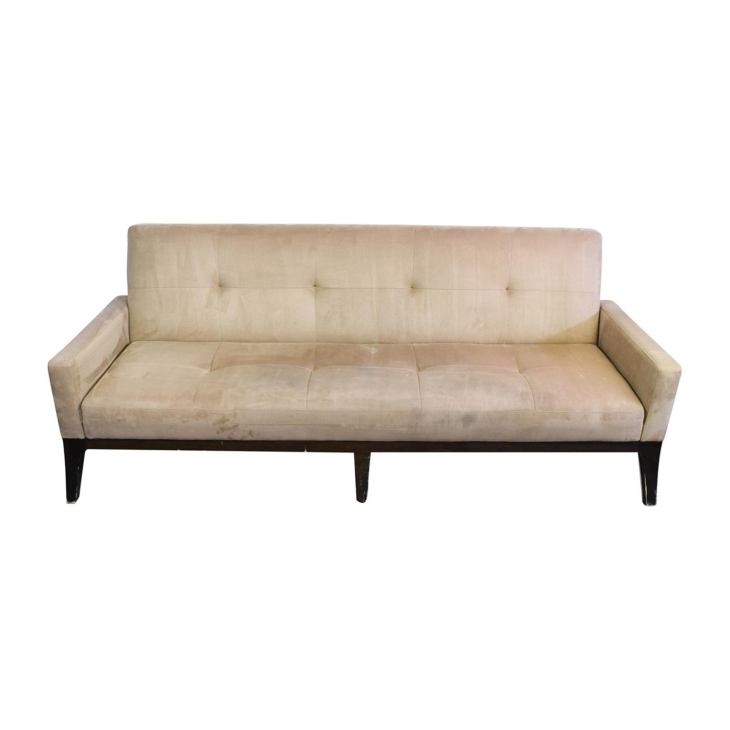 82% Off – Crate And Barrel Crate & Barrel Beige Tufted Futon Sofa Regarding Crate And Barrel Futon Sofas (Image 14 of 20)
