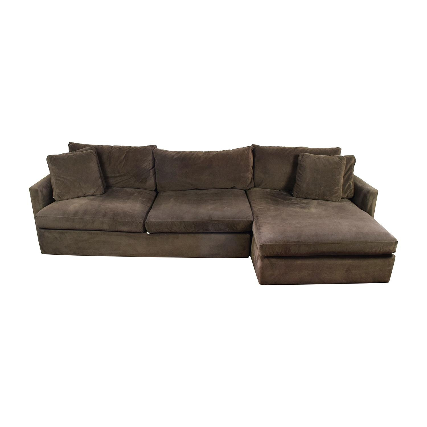 89% Off – Crate And Barrel Crate & Barrel Brown Left Arm Sectional Intended For Sectional Crate And Barrel (Image 7 of 20)