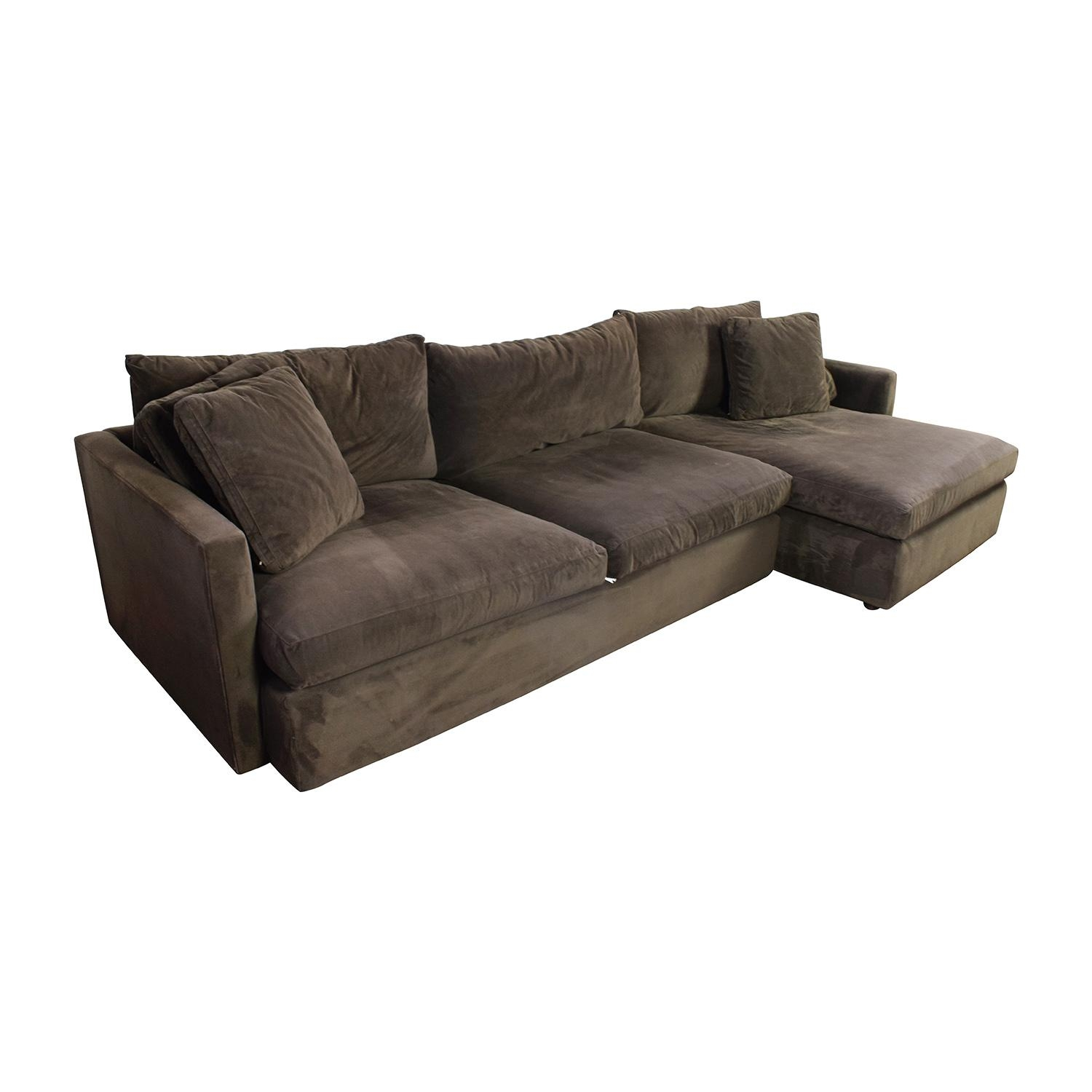 89% Off – Crate And Barrel Crate & Barrel Brown Left Arm Sectional Throughout Sectional Crate And Barrel (Image 8 of 20)