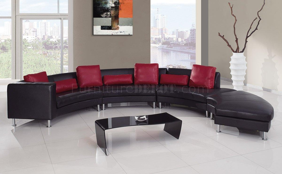 919 Sectional Sofa In Black&red Leatherglobal regarding Black Modern Sectional Sofas