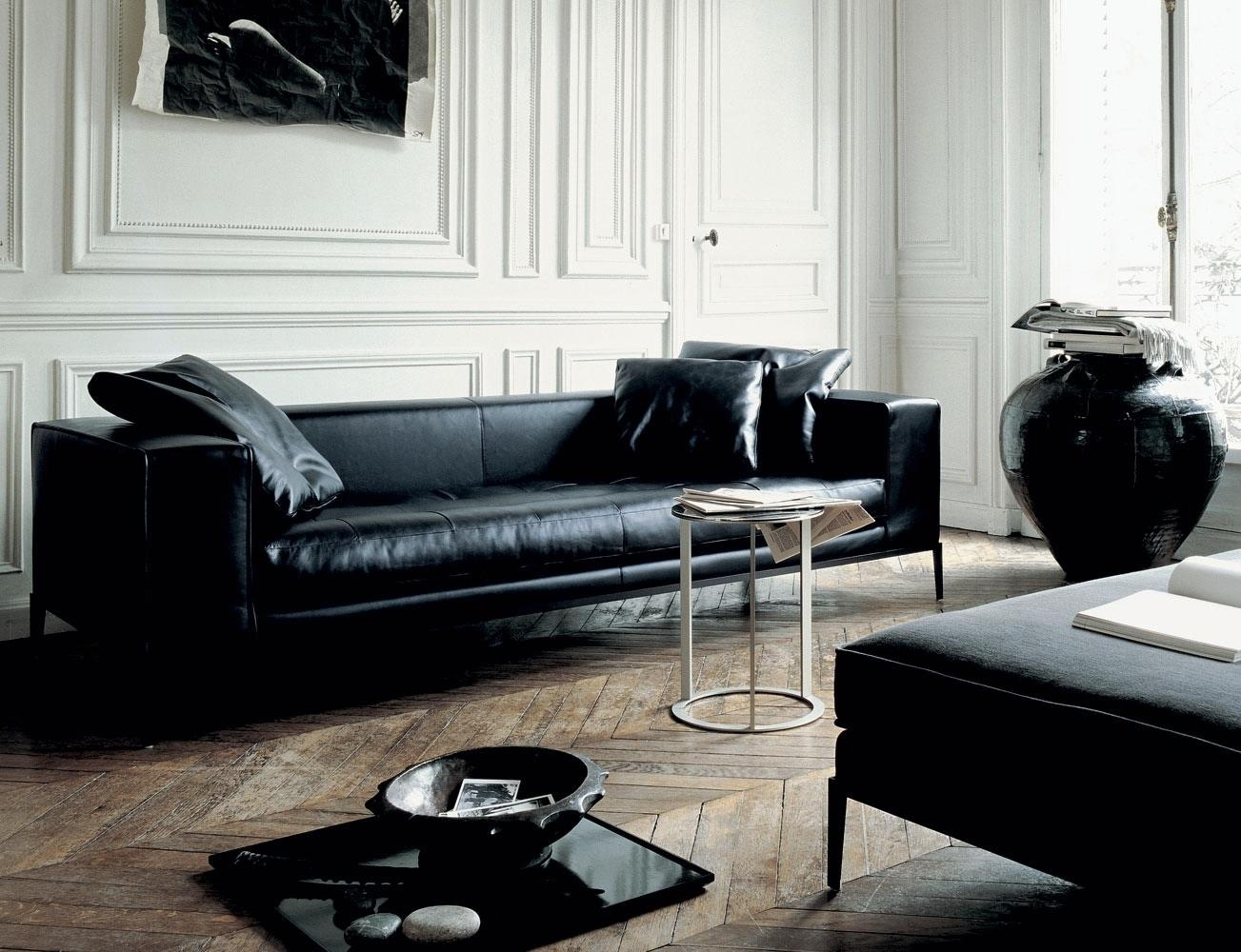 A Beautiful Room With Contemporary Leather Sofa — Home Design Intended For Contemporary Black Leather Sofas (View 12 of 20)