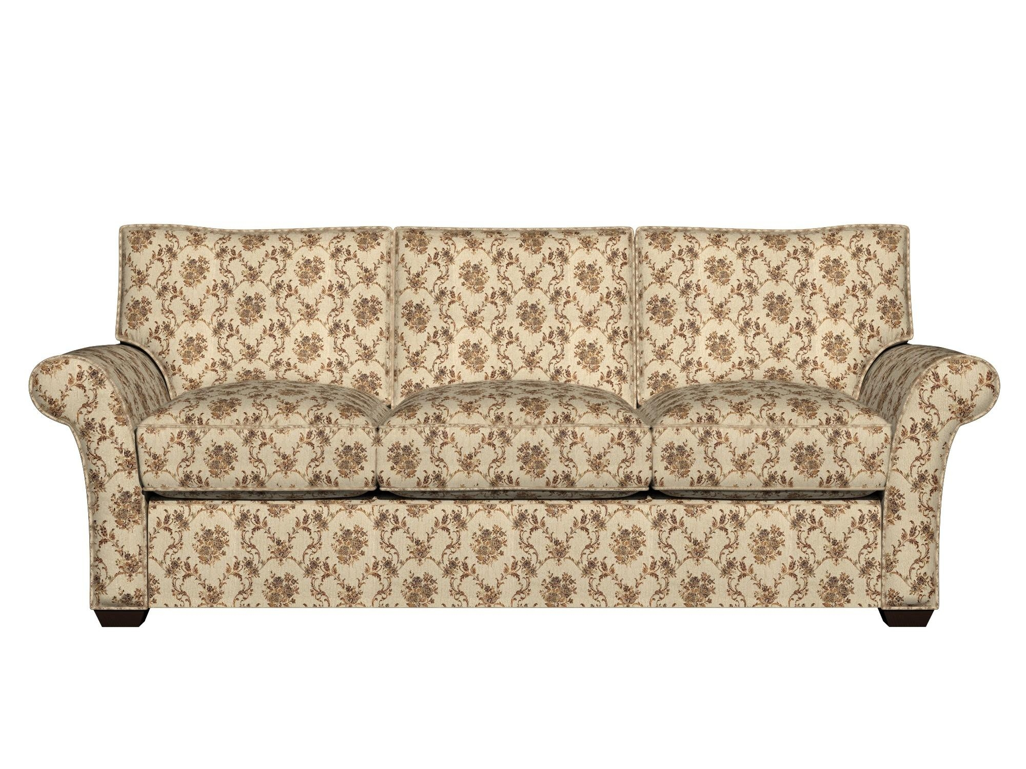 A0014E Beige, Gold, Brown And Ivory Floral Brocade Upholstery With Regard To Brocade Sofas (Image 10 of 20)