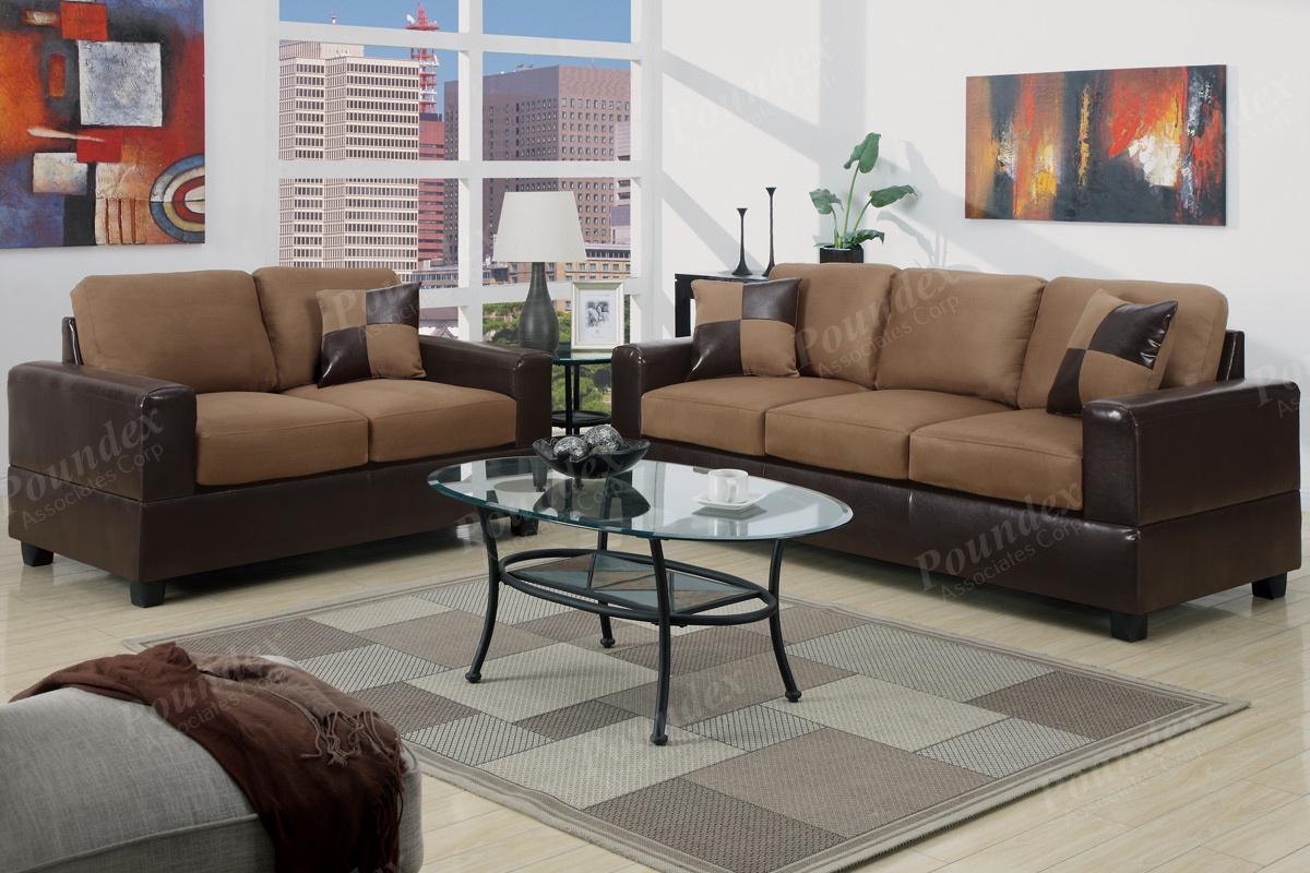 A13B 2 Pcs Sofa Set | Sofa / Loveseat | Bobkona Furniture With Regard To Poundex Sofas (View 13 of 20)