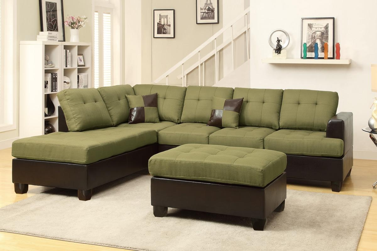 Abby Green Sectional Sofa W/ Ottoman Pertaining To Green Sectional Sofa With Chaise (Image 1 of 15)