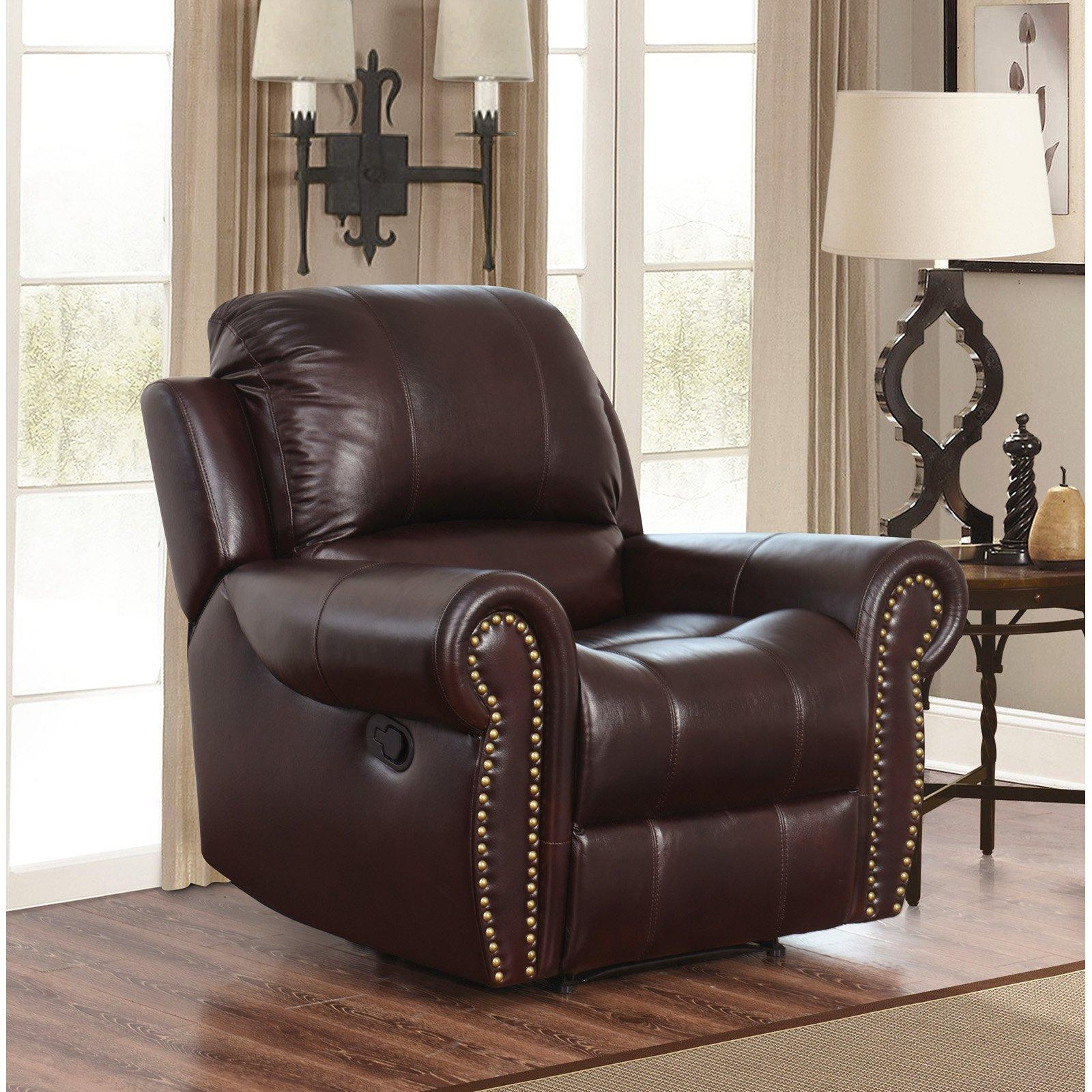 Abbyson Hogan Italian Leather Reclining Chair With Nailheads Throughout Abbyson Recliners (Image 3 of 20)