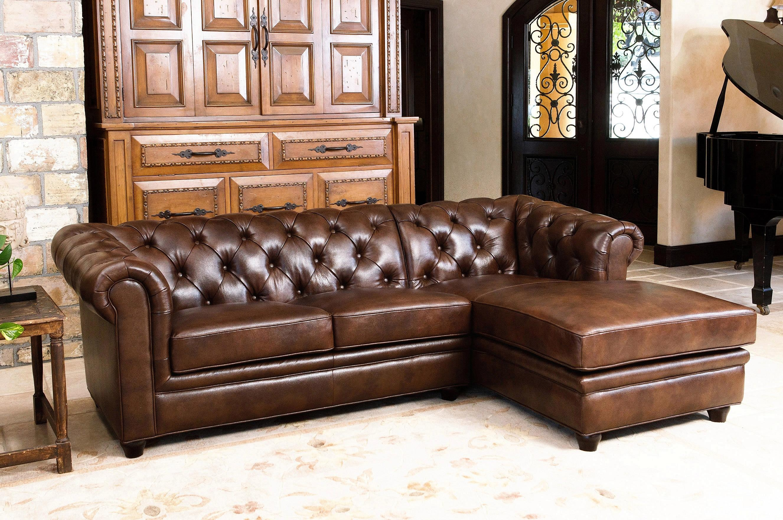 Abbyson Living Addison Two Tone Chestnut Brown Top Grain Leather With Regard To Abbyson Living Sectionals (Image 4 of 15)
