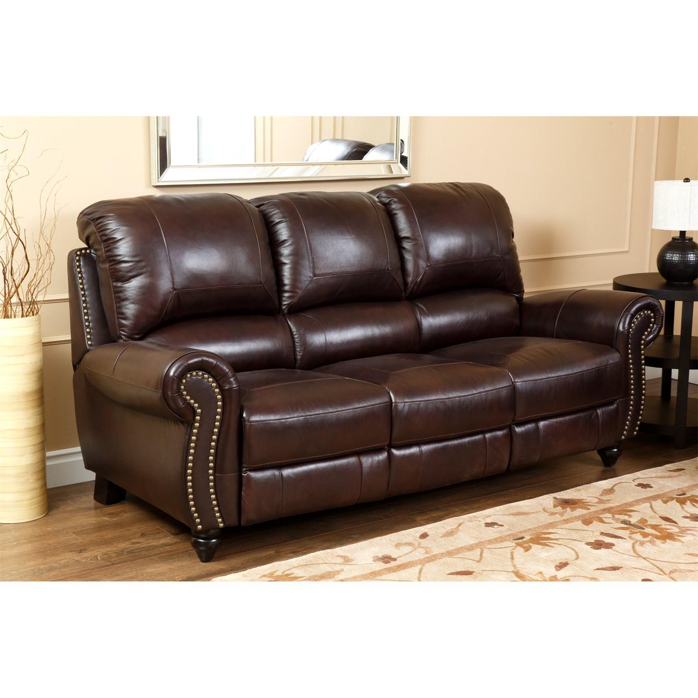 Abbyson Living Ch 8857 Brg 3/1 Canterbury Leather Pushback Regarding Canterbury Leather Sofas (View 6 of 20)