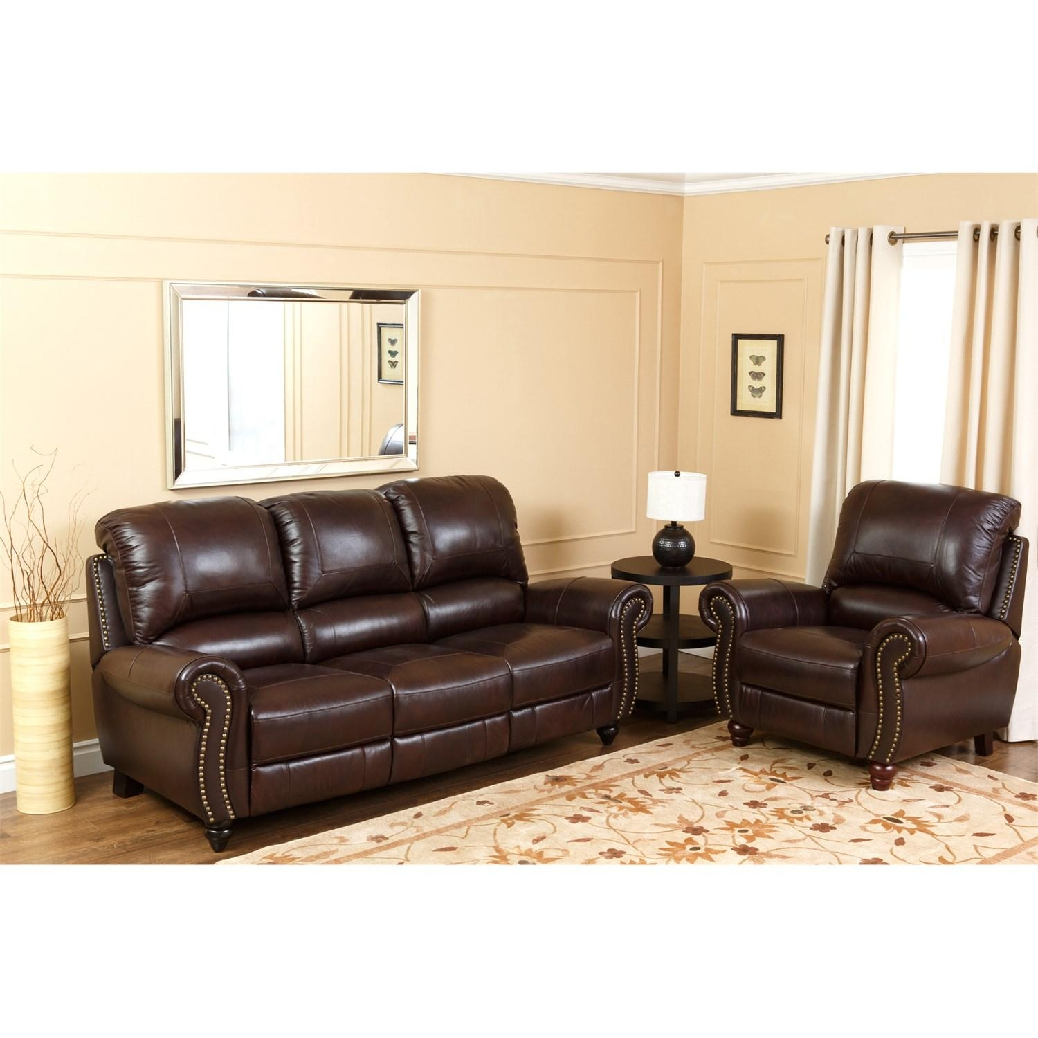 Abbyson Living Ch 8857 Brg 3/1 Canterbury Leather Pushback Within Abbyson Sofas (Image 7 of 20)