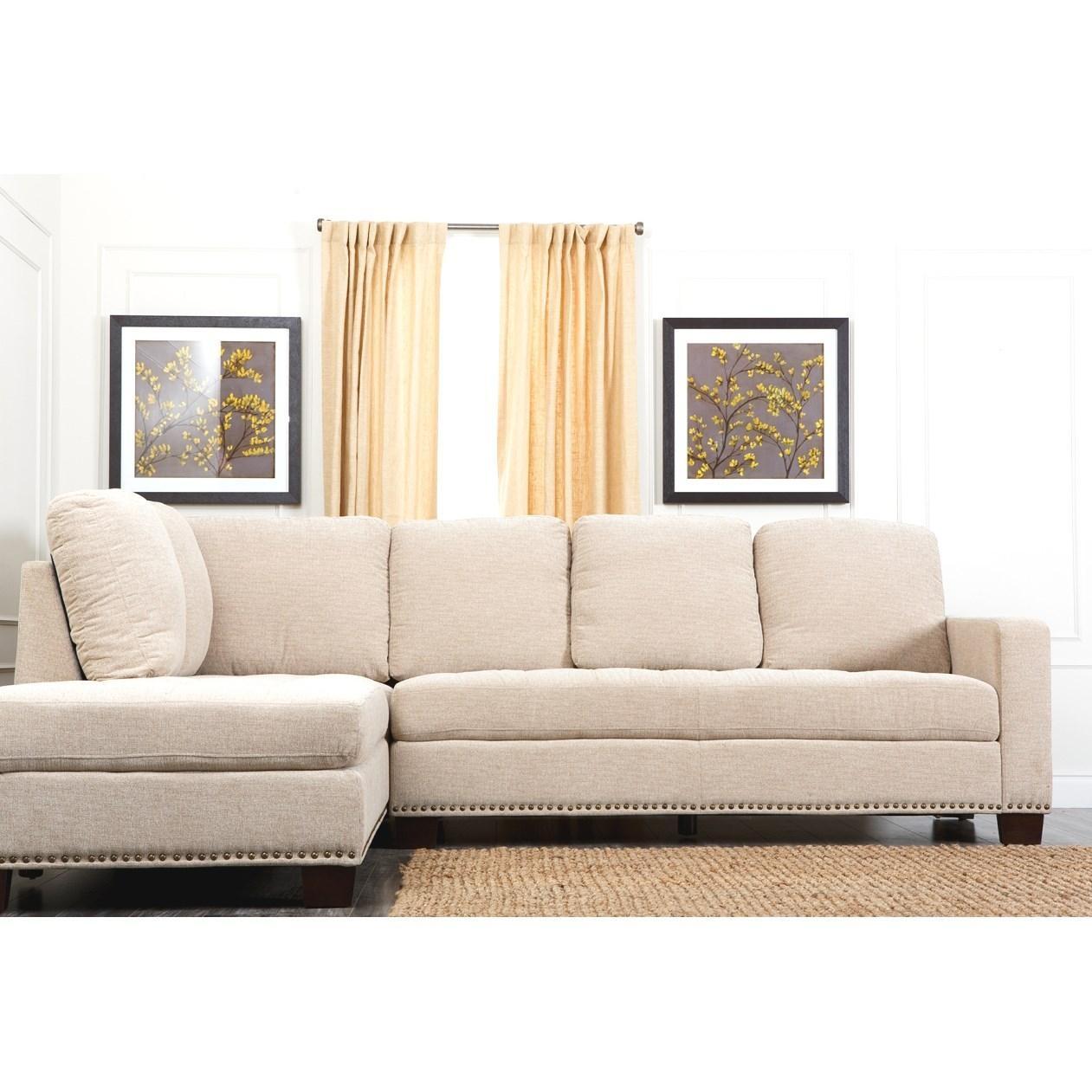 Abbyson Living Ci D10357 Crm Claridge Fabric Sectional In Cream Intended For Abbyson Living Sectionals (Image 5 of 15)