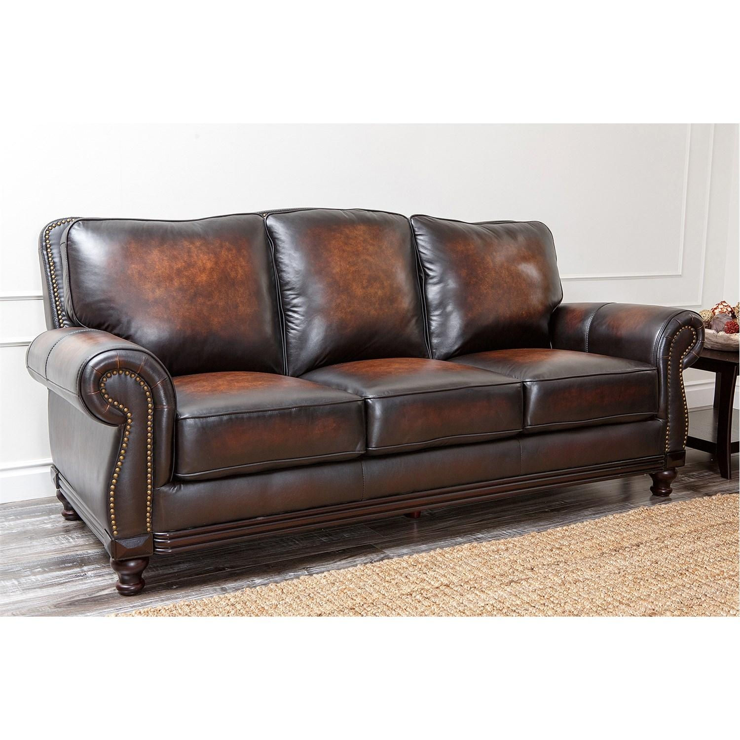 Abbyson Living Ci N180 Brn 3 Barclay Hand Rubbed Leather Sofa With Regard To Abbyson Living Sofas (Image 9 of 20)