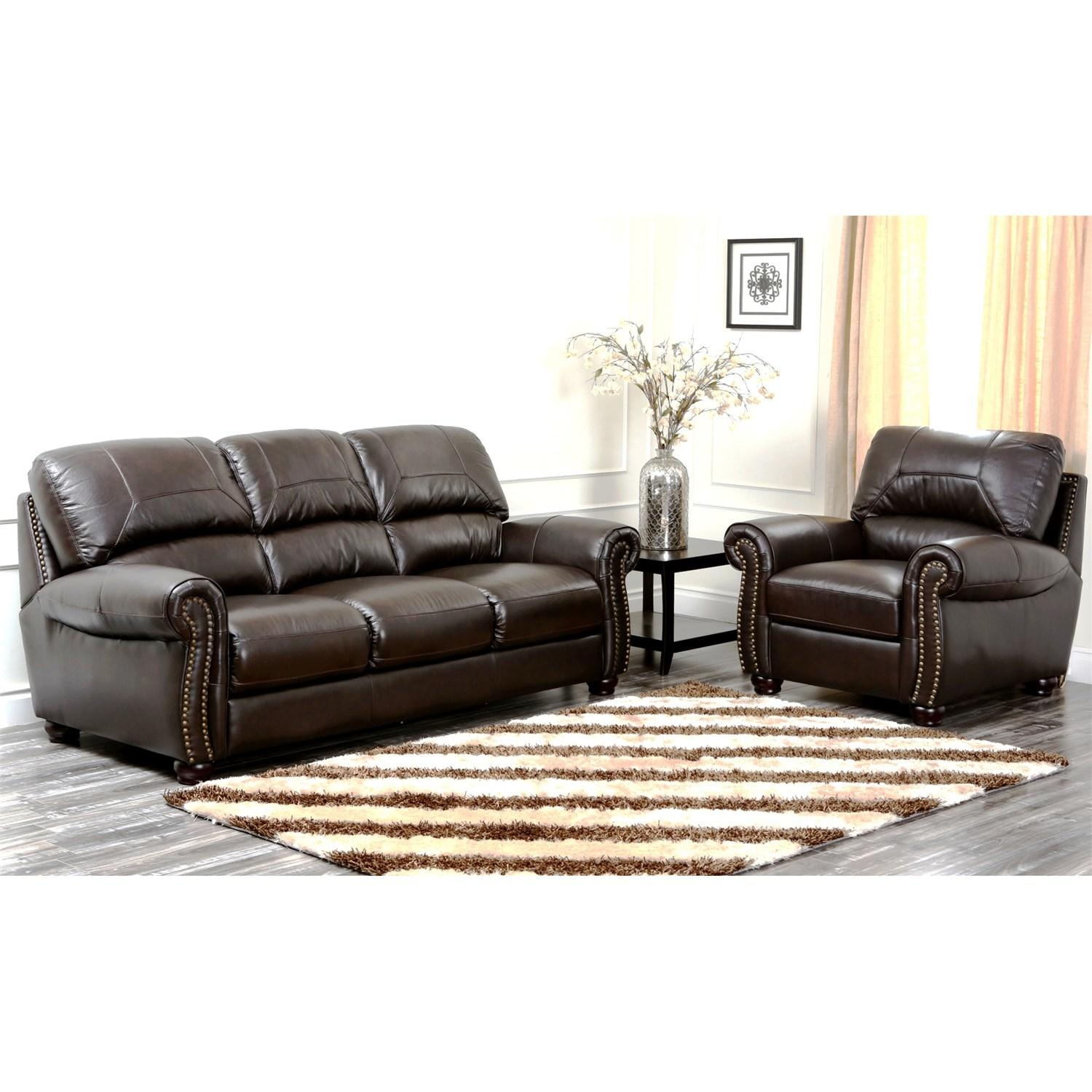 Abbyson Living Ci N350 Brn 3/1 Monaco Italian Leather Sofa And For Abbyson Sofas (View 18 of 20)