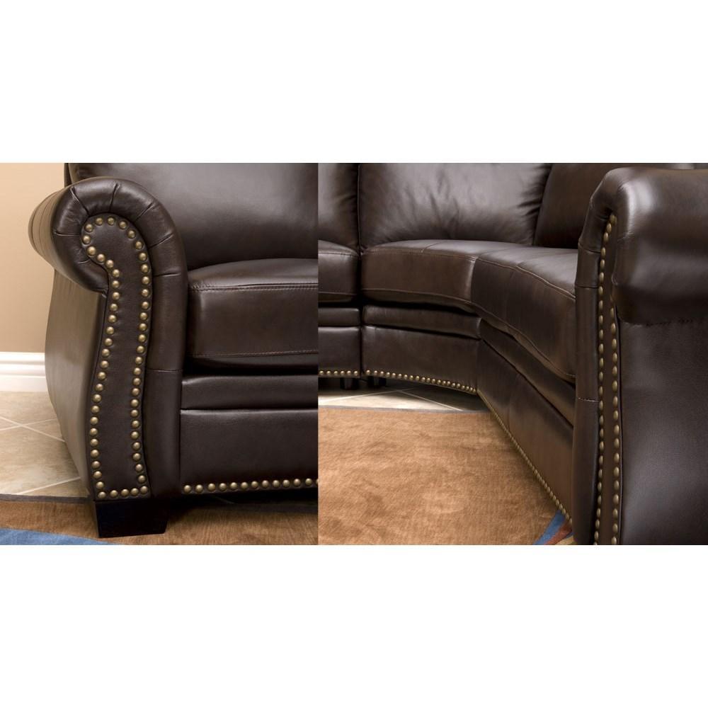 Abbyson Living Ci N410 Brn Oxford Italian Leather Sectional Sofa For Abbyson Living Sectional (Image 7 of 15)