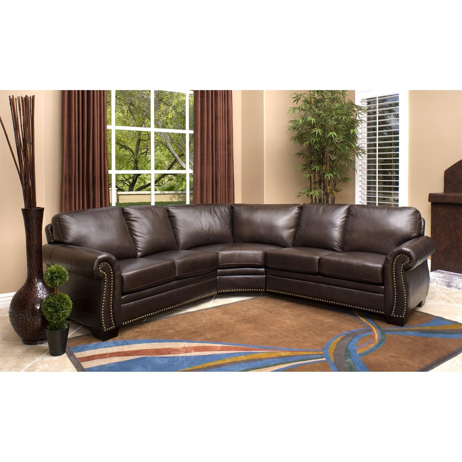 Abbyson Living Ci N410 Brn Oxford Italian Leather Sectional Sofa With Regard To Abbyson Sectional Sofa (Image 3 of 15)