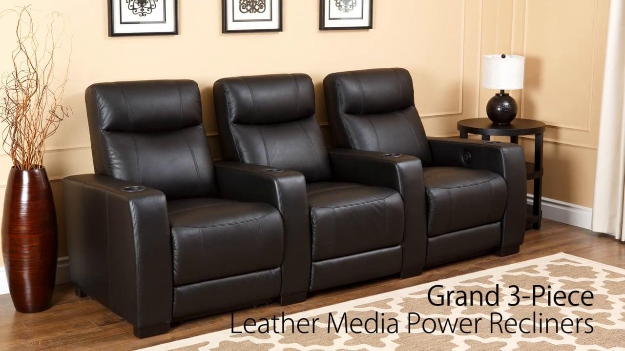 Abbyson Living – Grand Leather Media Recliners Set On Vimeo For Abbyson Recliners (Image 4 of 20)