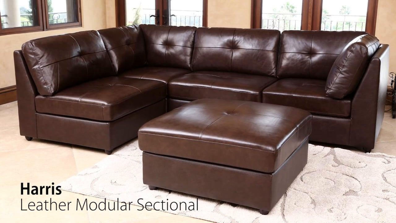 Abbyson Living – Harris Multi Tone Brown Leather Modular Sectional Intended For Abbyson Living Sectional (View 3 of 15)