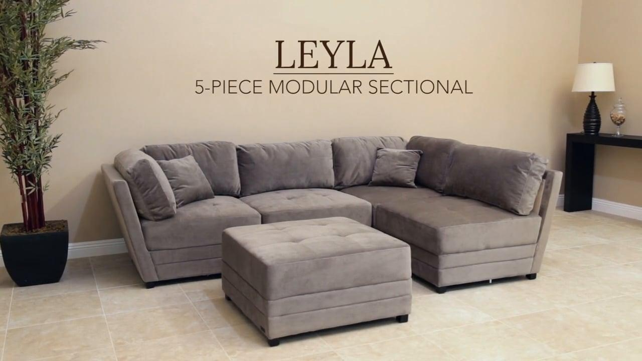 Abbyson Living U2013 Leyla Fabric Modular Sectional On Vimeo Intended For Abbyson  Living Sectional (Image