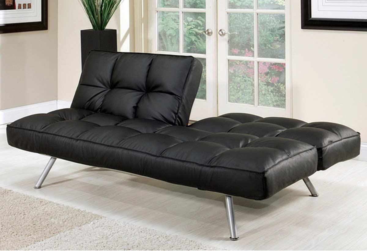 Abbyson Living Milano Black Convertible Euro Sofa Lounger Ab Ms With Regard To Euro Sofas (Image 2 of 20)