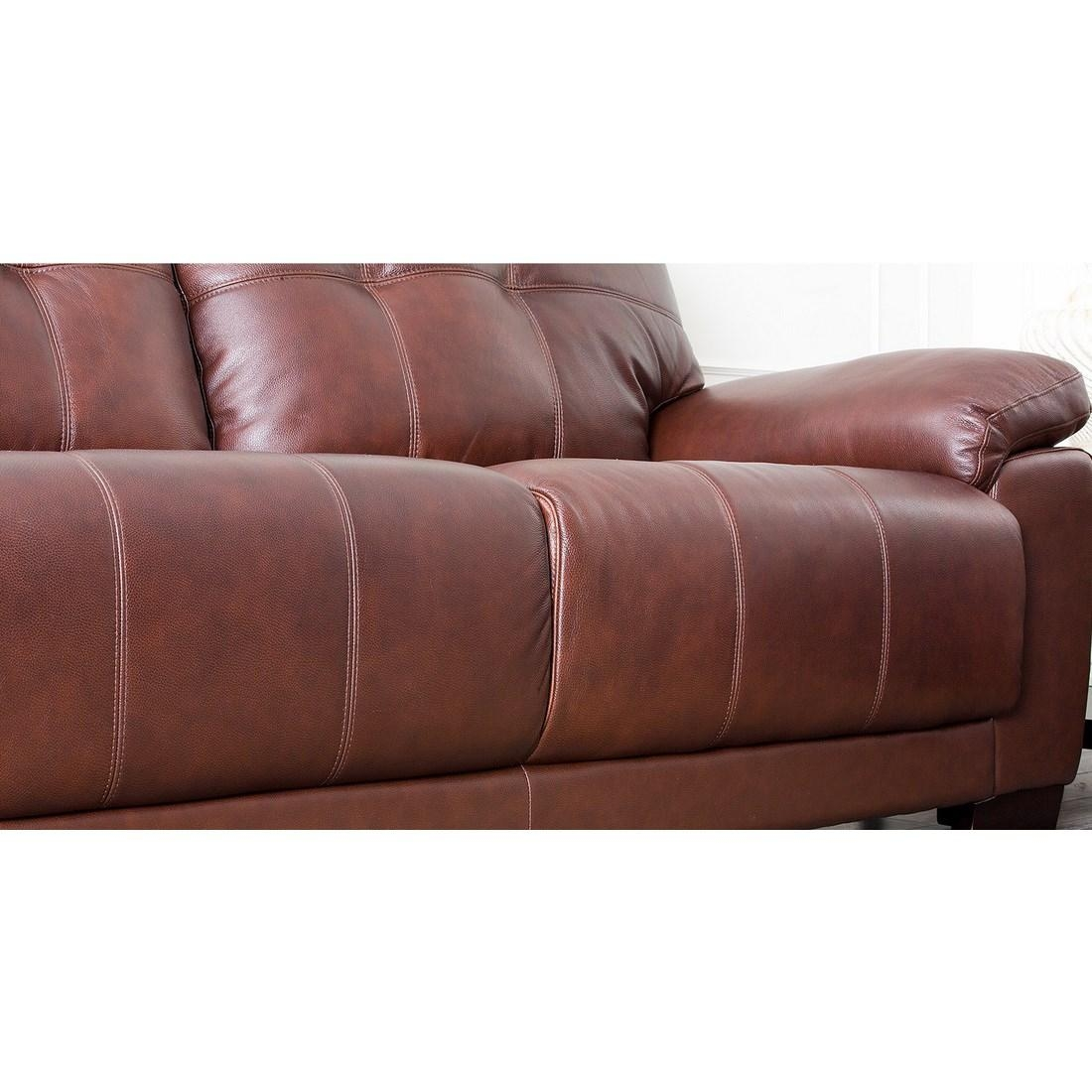 Abbyson Living Sf 5902 Cst 3 Florence Two Tone Brown Leather Sofa Throughout Florence Leather Sofas (Image 2 of 20)