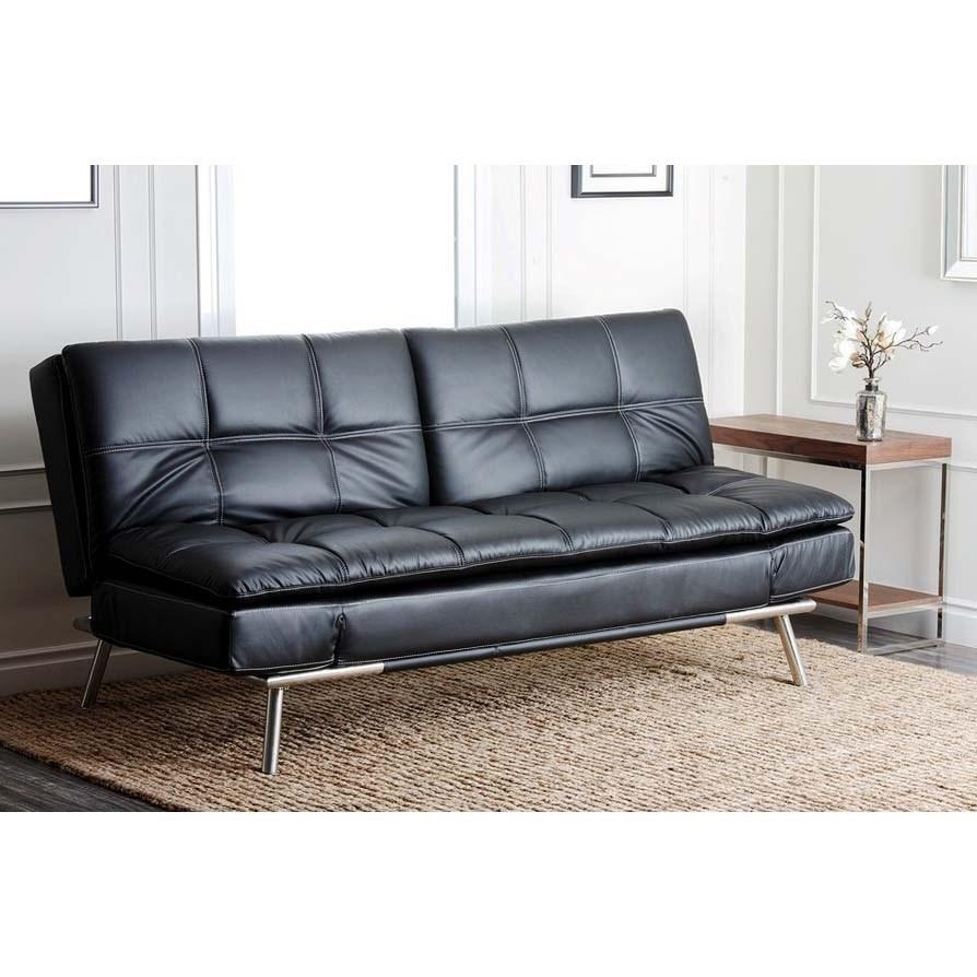 Abbyson Living Yg F118 Blk Marquette Leather Euro Lounger Sofa Pertaining To Euro Loungers (Image 1 of 20)