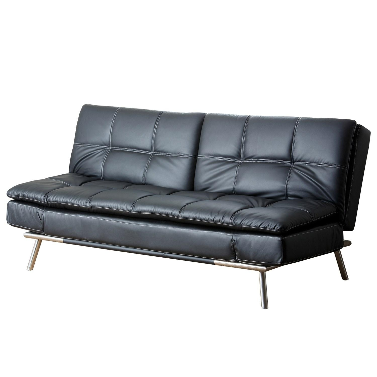 Abbyson Living Yg F118 Blk Marquette Leather Euro Lounger Sofa Within Euro Loungers (Image 2 of 20)