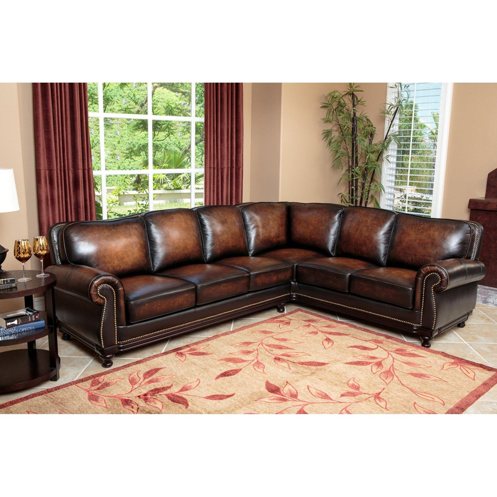 Abbyson Tekana Premium Italian Leather Sectional Sofa – Dark Brown With Regard To Abbyson Living Sectional (Image 9 of 15)