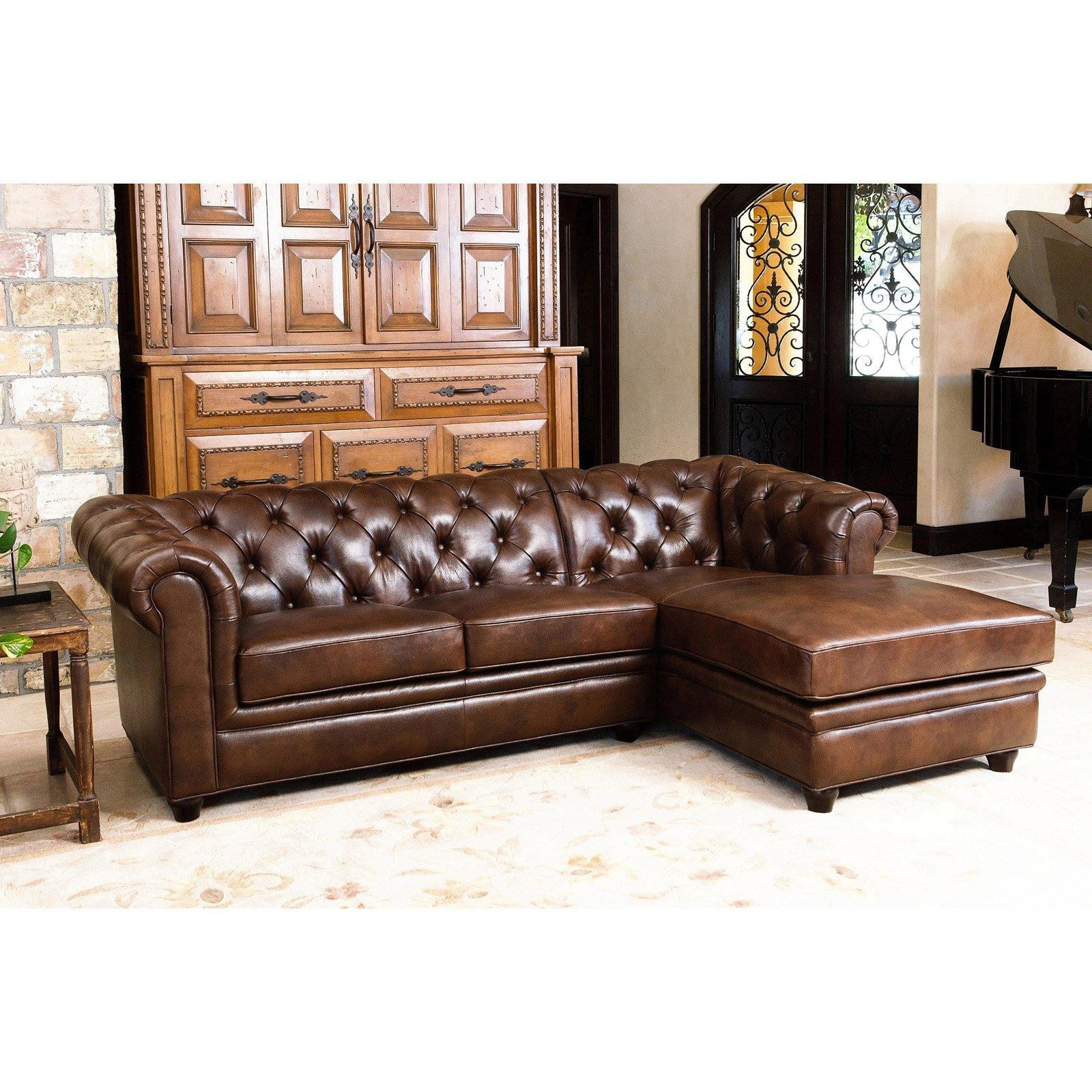 Abbyson Tuscan Top Grain Leather 3 Piece Sectional Sofa | Hayneedle With Regard To Abbyson Sectional Sofas (Image 11 of 20)