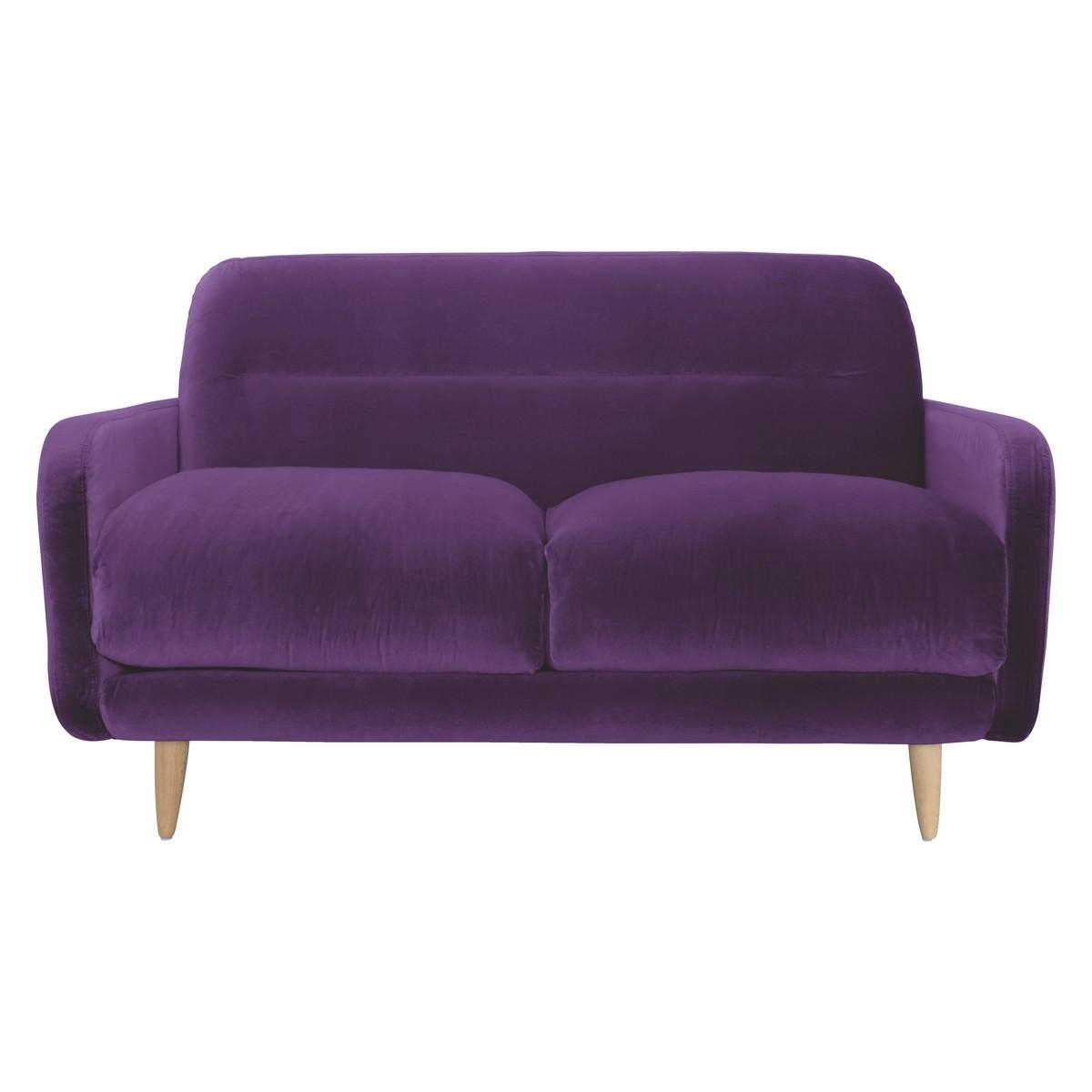 Abel Purple Velvet 2 Seater Sofa | Buy Now At Habitat Uk Intended For 2 Seater Sofas (Image 3 of 20)