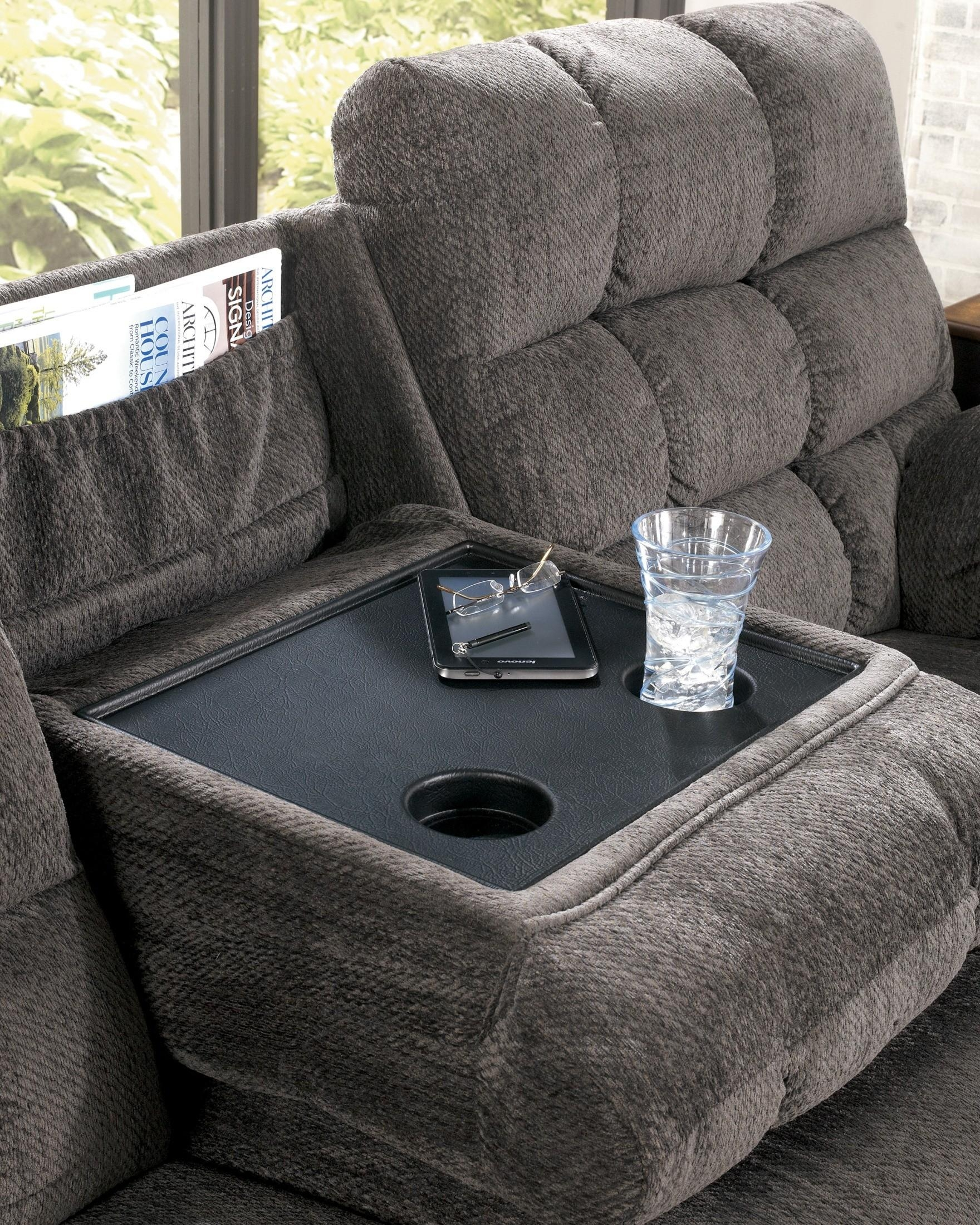 Acieona Slate Reclining Sofa With Drop Down Table From Ashley For Sofa Drink Tables (Image 1 of 20)