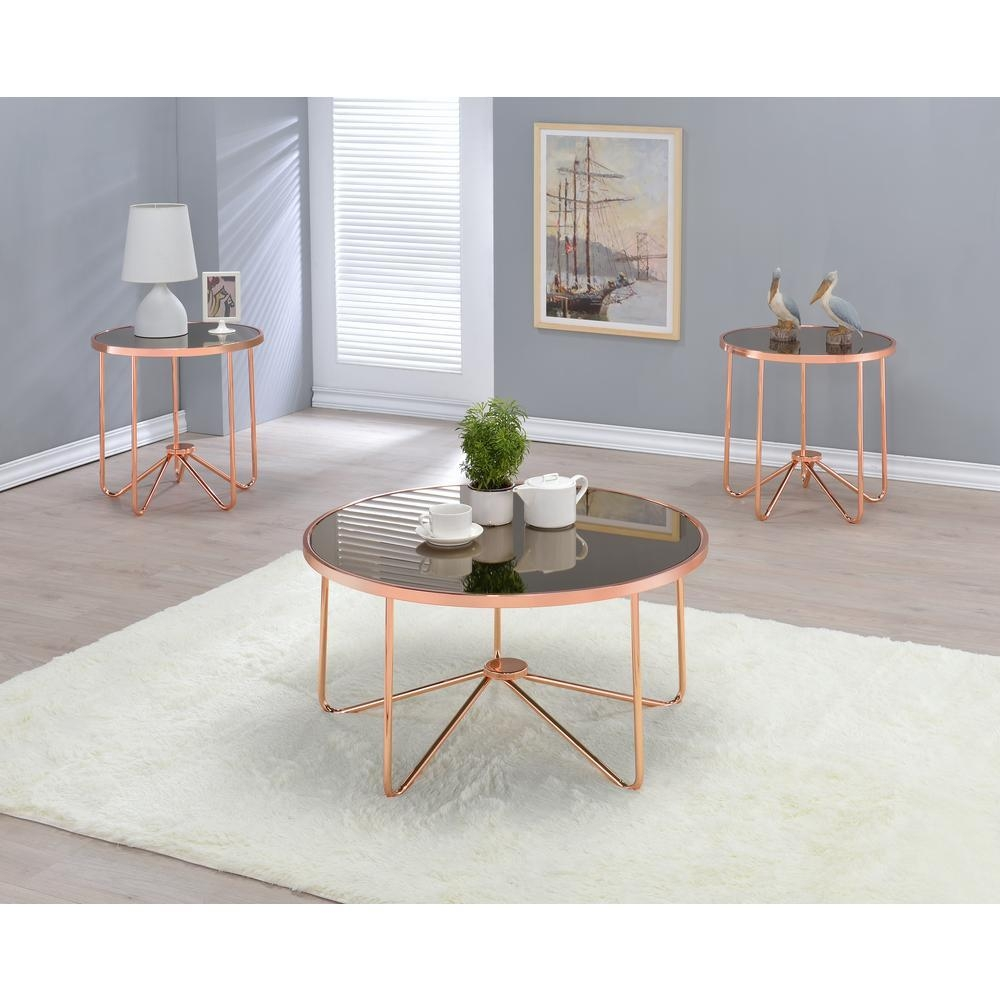 Acme Furniture Alivia Smoky Glass And Rose Gold Coffee Table 81840 With Regard To Gold Sofa Tables (Image 1 of 20)