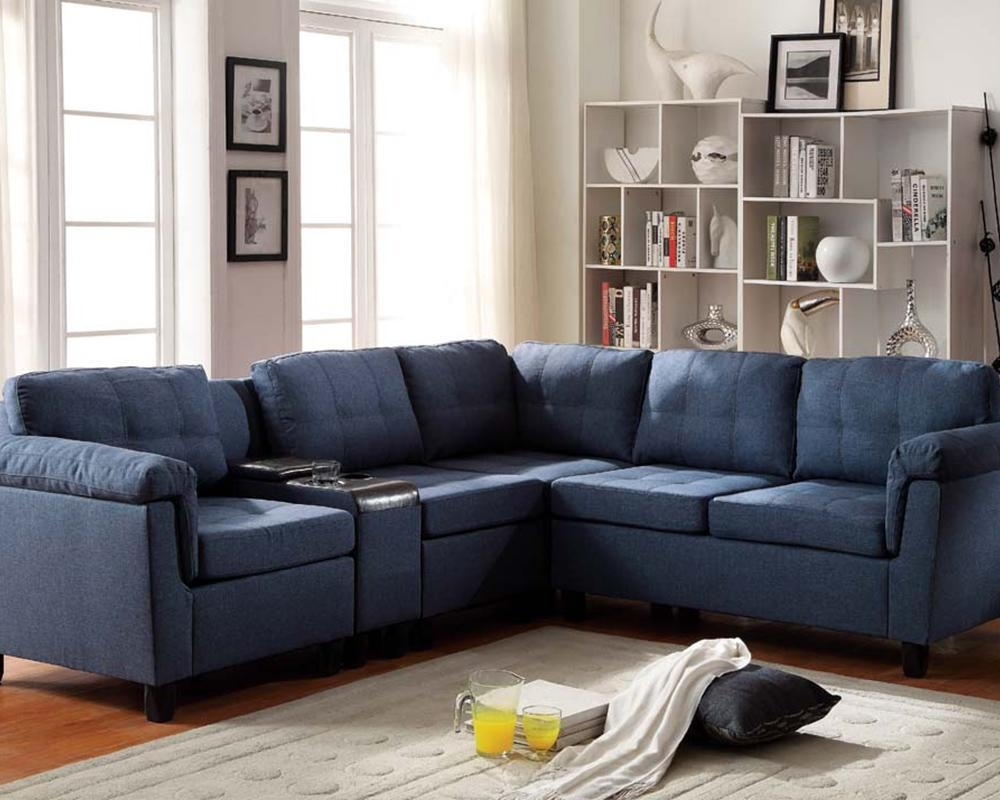 Acme Furniture Blue Sectional Sofa Cleavon Ac51525 Within Blue Leather Sectional Sofas (Image 1 of 20)