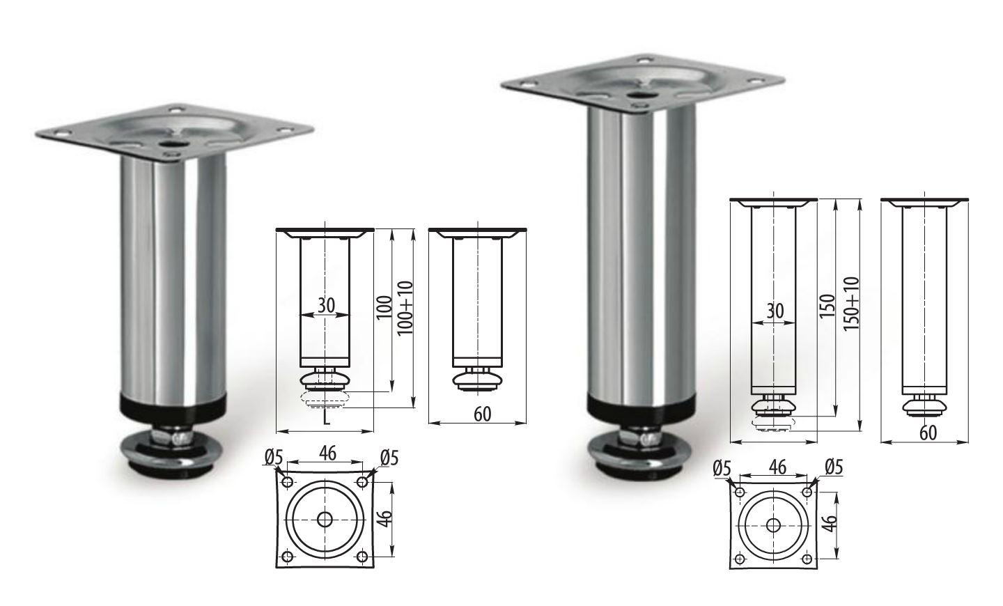 Adjustable Plinth Leg For Kitchen Cabinet/furniture/sofa Chrome Pertaining To Adjustable Sofa Legs (Image 3 of 20)