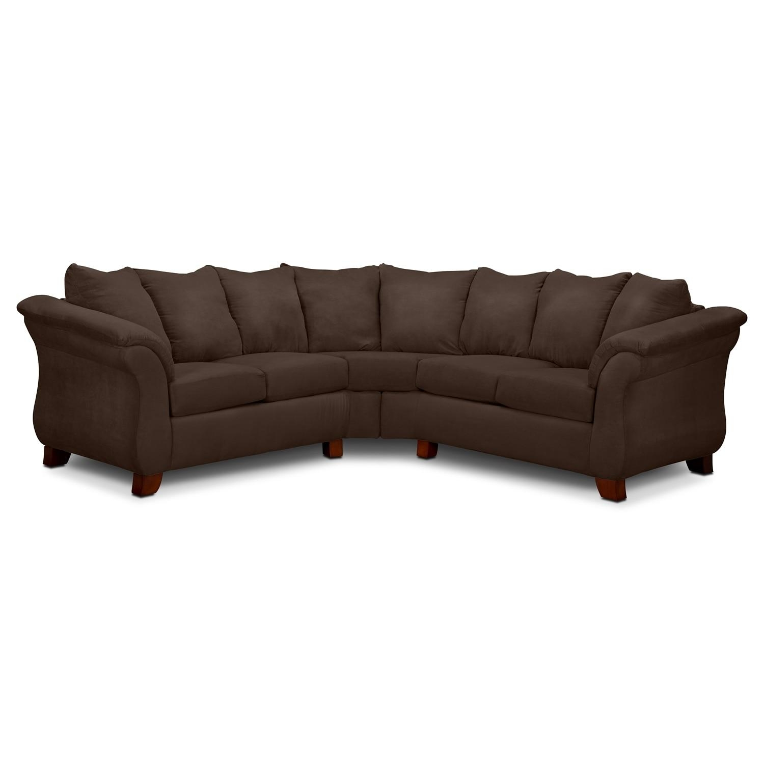Adrian 2 Piece Sectional – Chocolate | American Signature Furniture Throughout Serta Sectional (Image 1 of 20)