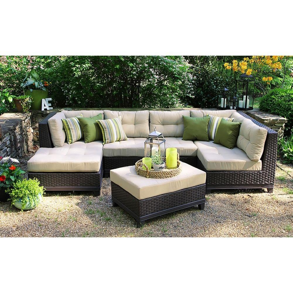 Ae Outdoor Hillborough 4 Piece All Weather Wicker Patio Sectional Pertaining To Conversation Sectional (Image 1 of 15)