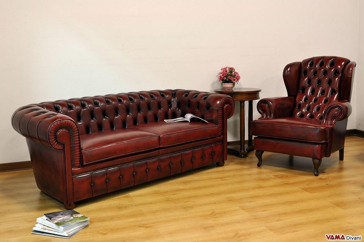 Aged Leather Sofa | Sofa Gallery | Kengire Regarding Red Leather Chesterfield Chairs (Image 4 of 20)