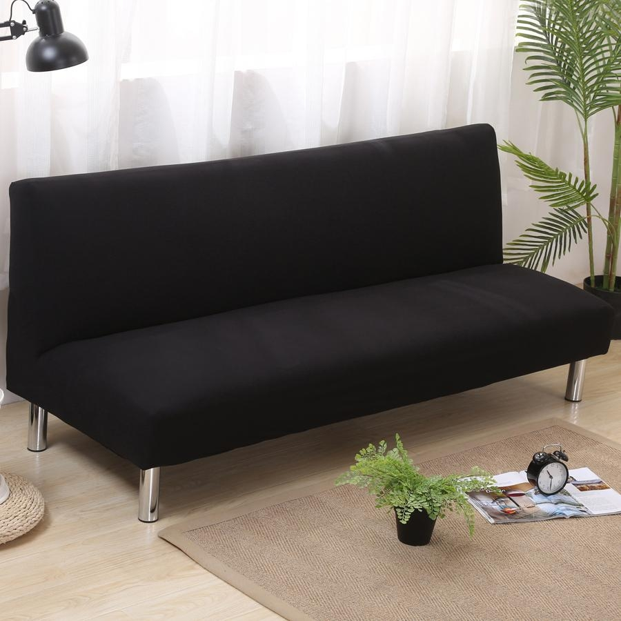 Aliexpress : Buy Solid Color Folding Sofa Cover Elastic In Armless Sofa Slipcovers (View 11 of 20)