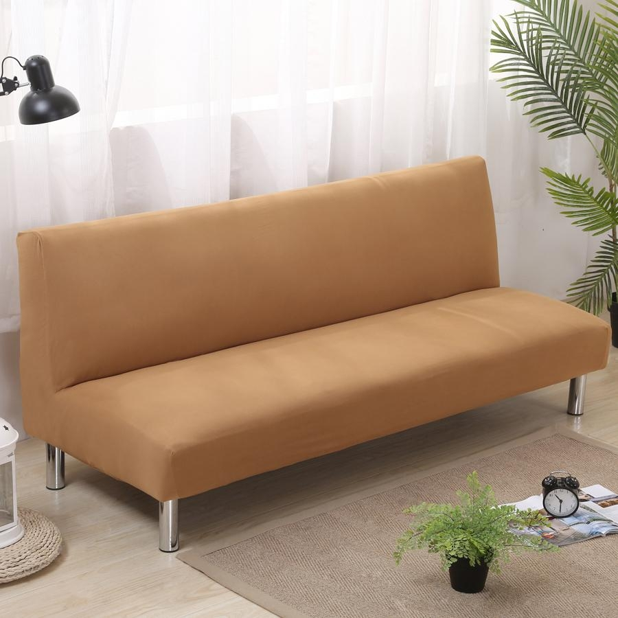 Aliexpress : Buy Solid Color Folding Sofa Cover Elastic Pertaining To Armless Couch Slipcovers (Image 1 of 20)