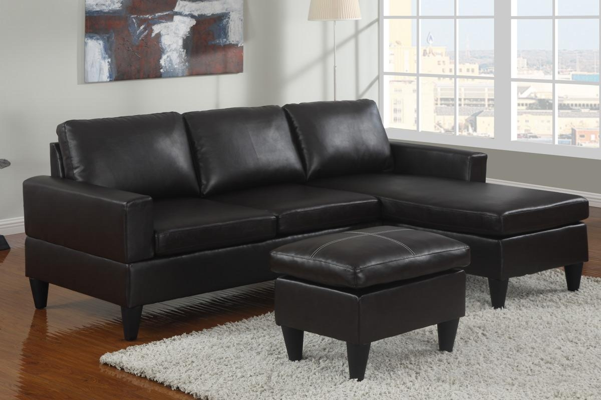 All In One Faux Leather Sectional Sofa With Ottoman – Espresso With Faux Leather Sectional Sofas (Image 1 of 15)