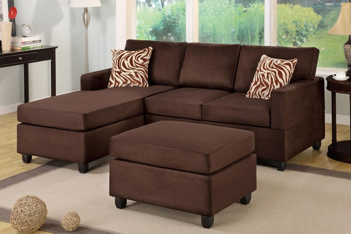 All In One Microfiber Plush Sectional Sofa With Ottoman Pertaining To Chocolate Brown Sectional (Image 2 of 15)
