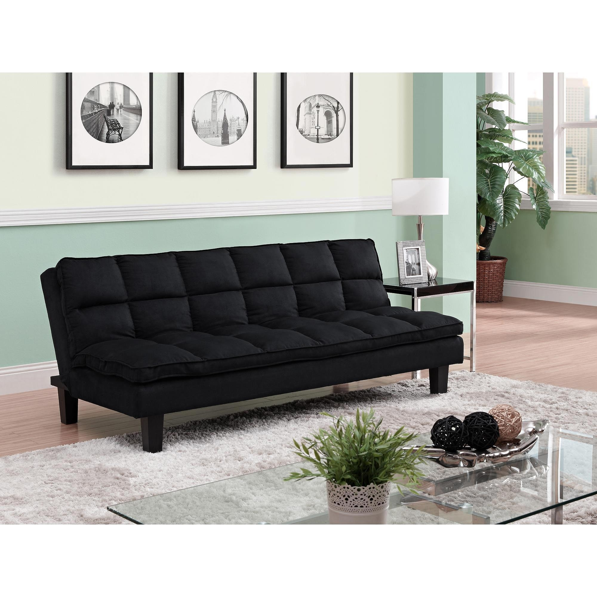 Allegra Pillow Top Futon, Black – Walmart Regarding Small Black Futon Sofa Beds (Image 1 of 20)