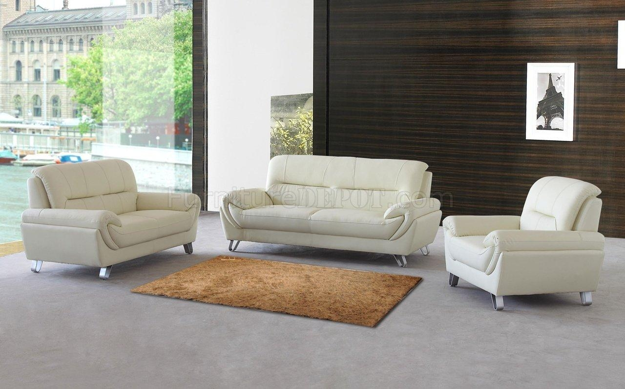 Almond Leather Modern Sofa, Loveseat & Chair Set W/options Inside Sofa Loveseat And Chair Set (Image 2 of 20)