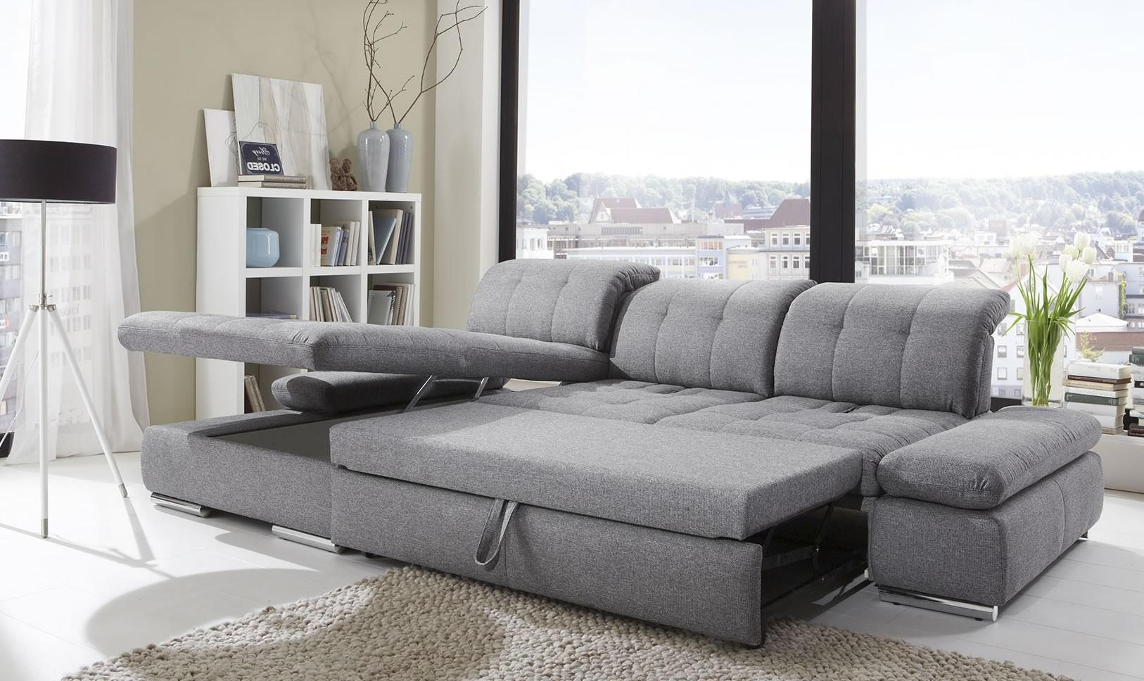 Alpine Sectional Sleeper Sofa, Left Arm Chaise Facing, Black Regarding Sectional Sleeper Sofas With Chaise (View 16 of 20)