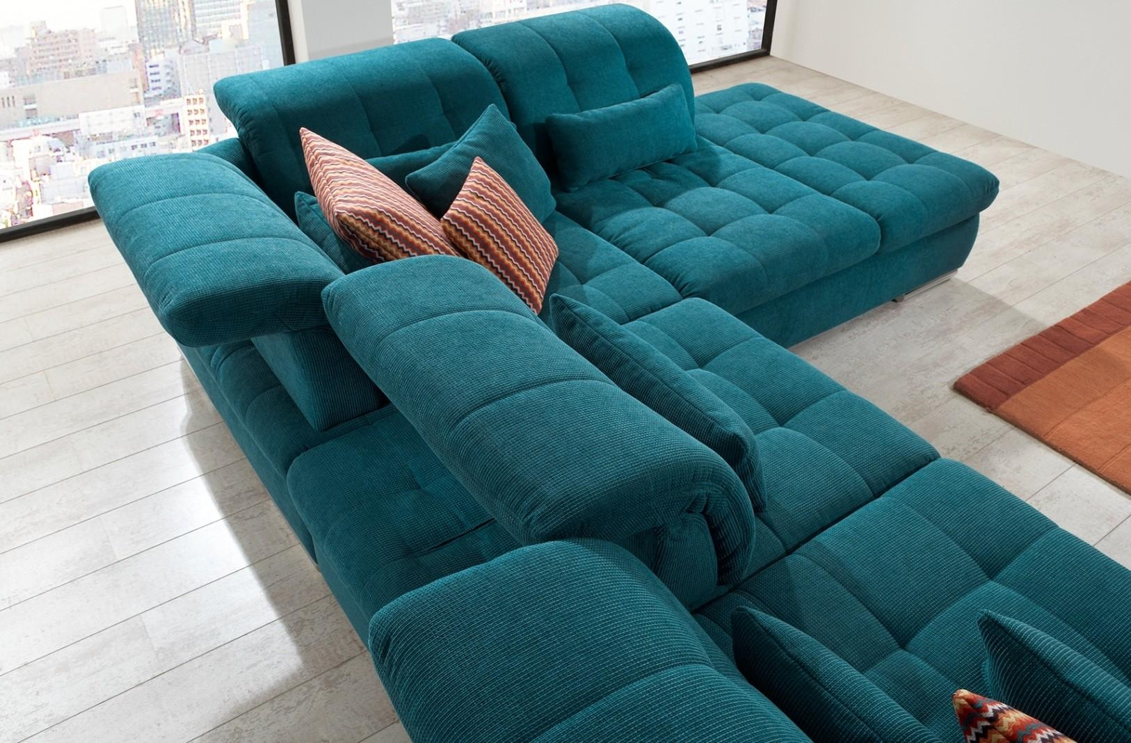 Alpine Sectional Sofa In Green Fabric Pertaining To Green Sectional Sofa (Image 2 of 15)